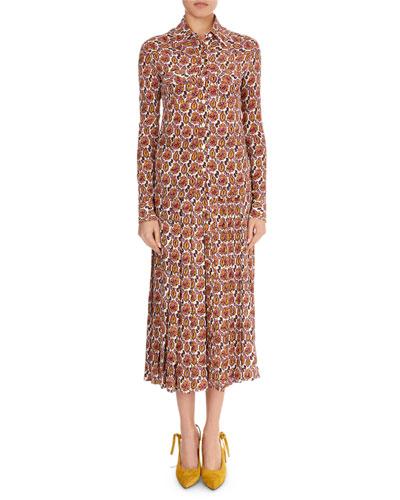 Paisley Crepon Long-Sleeve Top