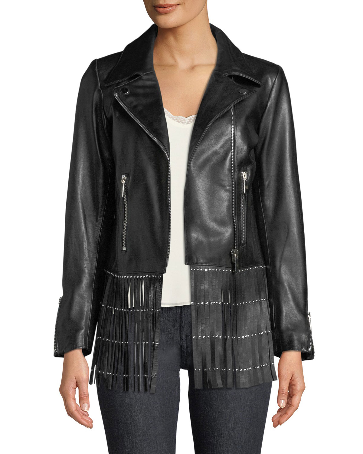Zip-Front Lamb Leather Jacket w/ Fringe Hem