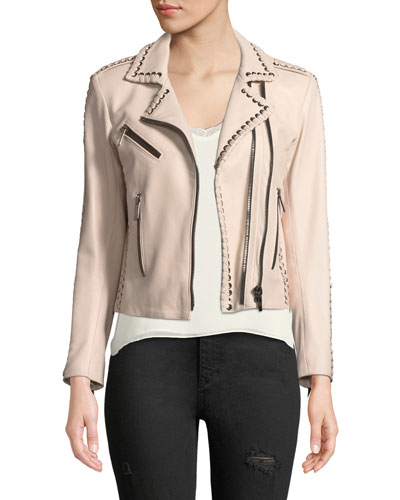 Lace-Up Zip-Front Leather Moto Jacket