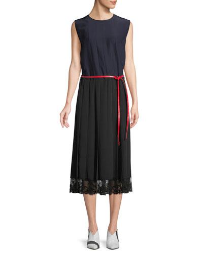 Crewneck Sleeveless Colorblock A-Line Silk Midi Dress w/ Lace Hem