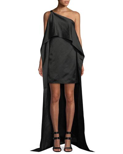 Duchess Satin One-Shoulder Asymmetric Drape Dress
