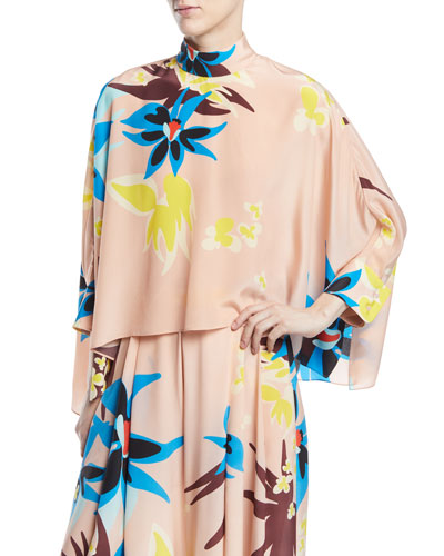 Mock-Neck Long-Sleeve Floral-Print Silk Swing Top