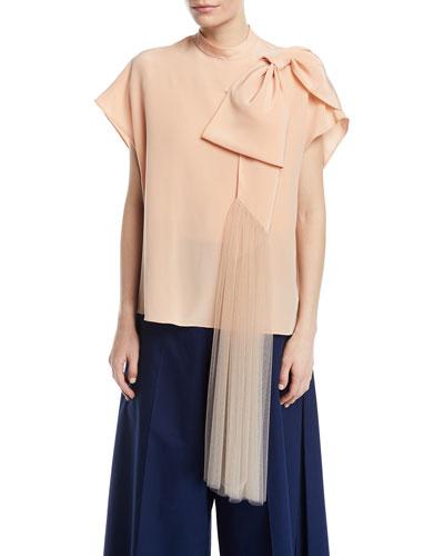 Short-Sleeve Silk Top w/ Tulle Bow