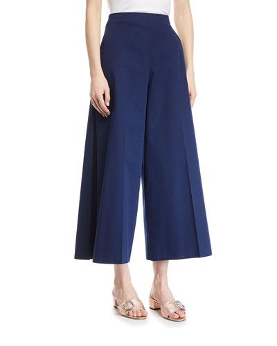 Wide-Leg Cotton Cropped Pants