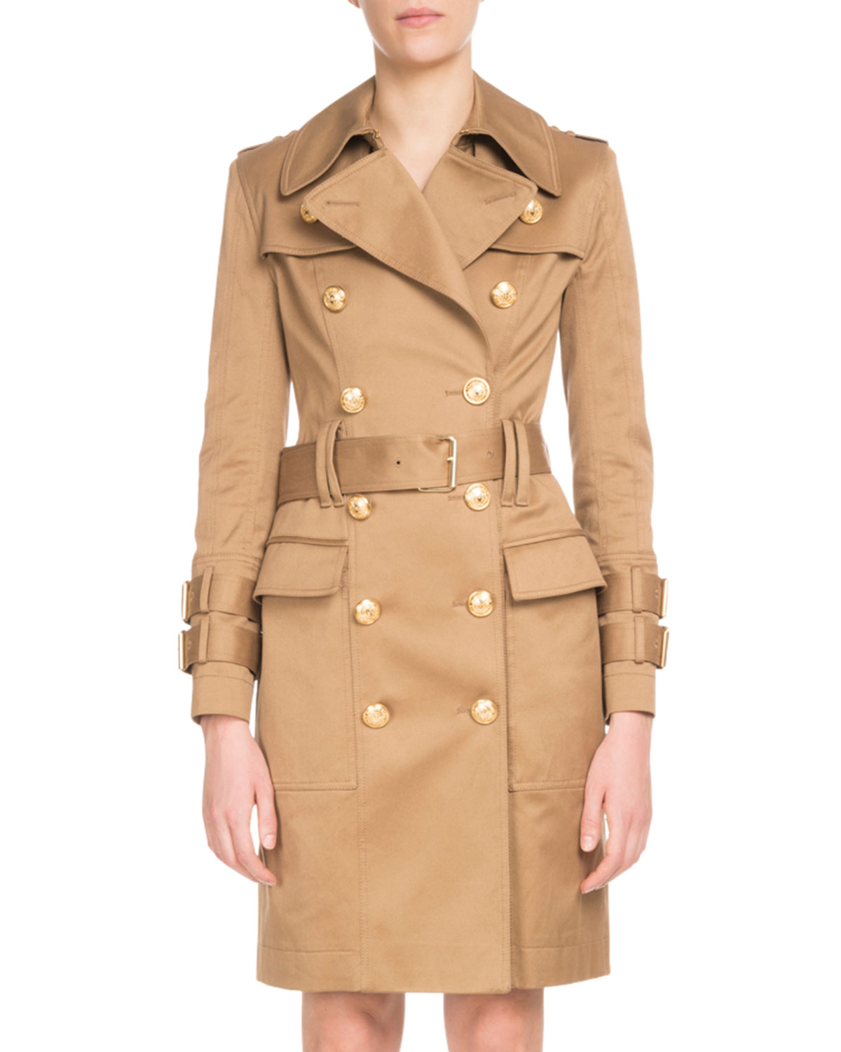 Balmain Coats DOUBLE-BREASTED GOLDEN-BUTTON BELTED TRENCH COAT