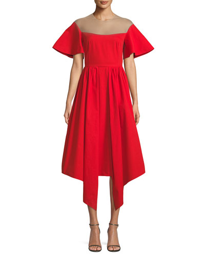 Flared-Sleeve Tulle-Yoke Fit-and-Flare Cotton Cocktail Dress