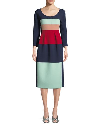 Scoop-Neck Long-Sleeve Striped Wool Midi Cocktail Dress