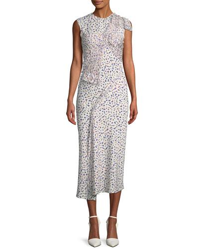 Sleeveless Silk Floral Fil Coupe Dress