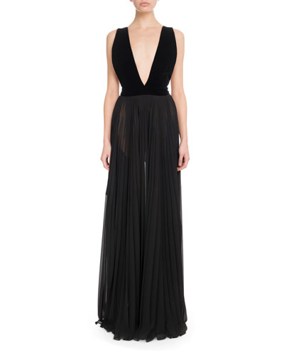 Sleeveless Velvet-Top Pleated-Skirt Evening Gown