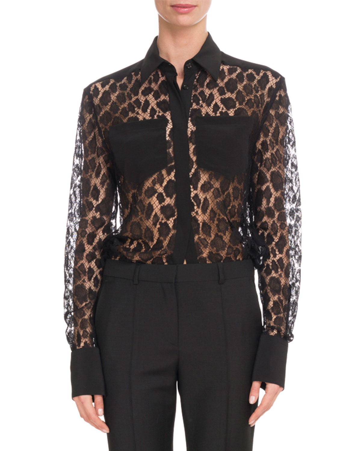 Leopard Mesh Two-Pocket Blouse