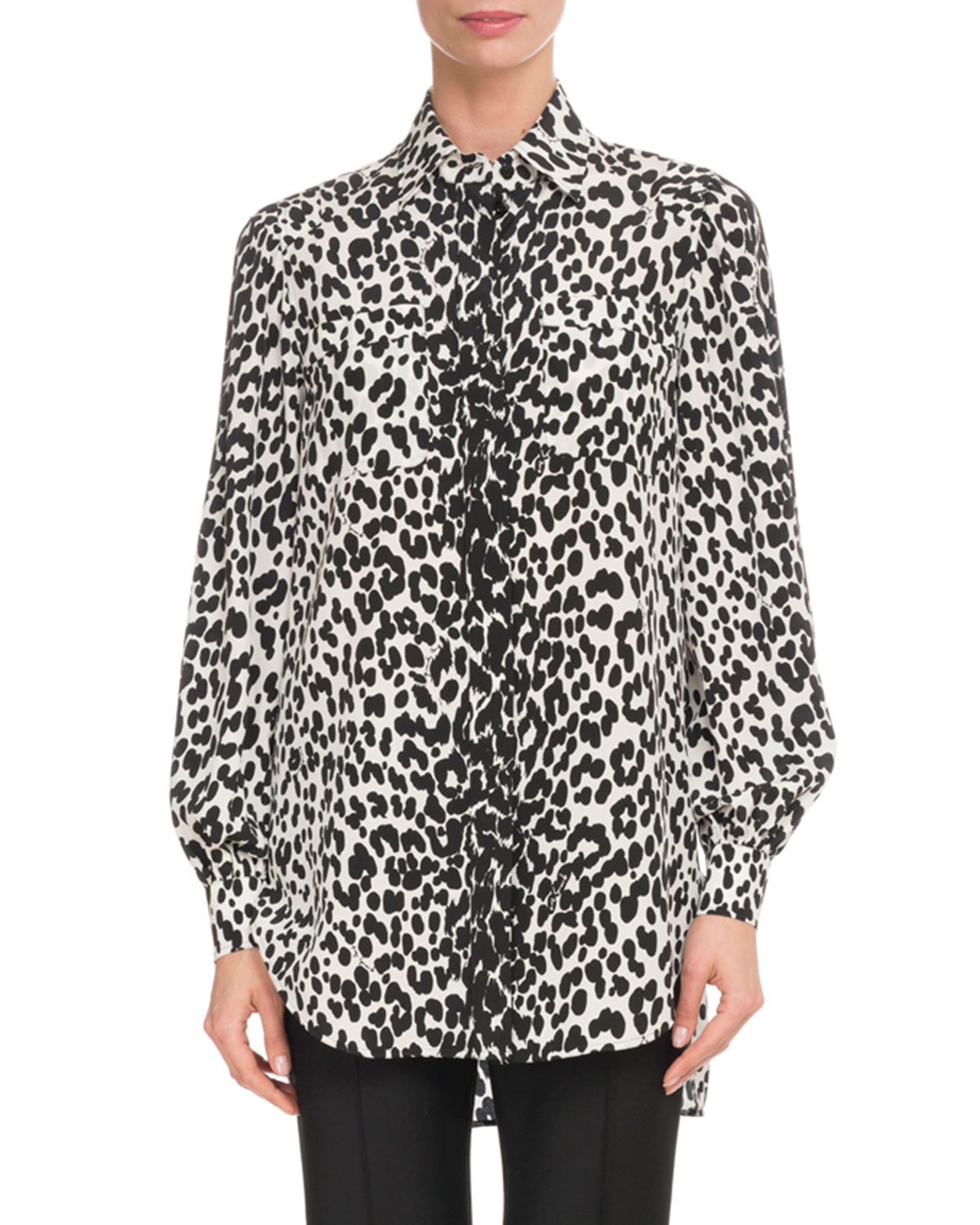 Leopard-Print Button-Down Long-Sleeve Silk Blouse