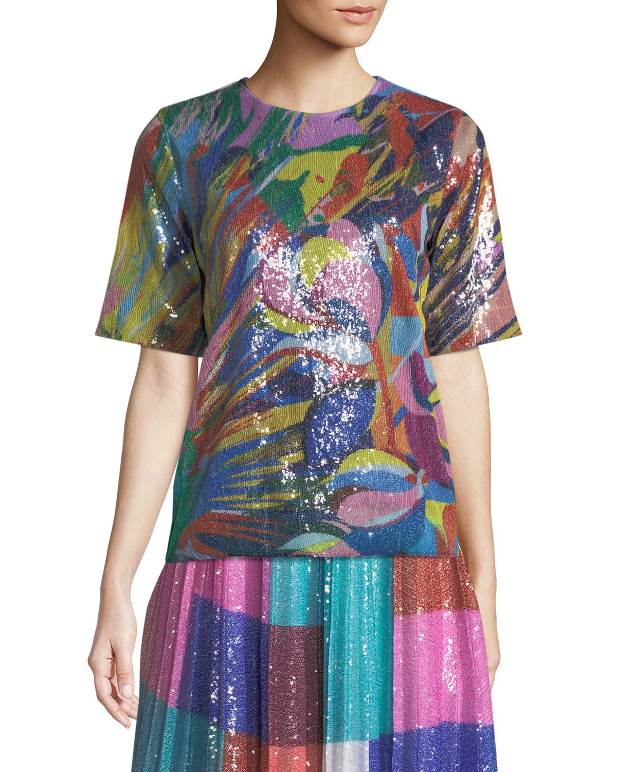 Short-Sleeve Crewneck Paint-Splash Sequin Top