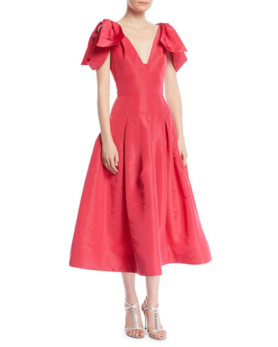 V-Neck Bow-Shoulder Fit-and-Flare Tea-Length Silk Faille Cocktail Dress