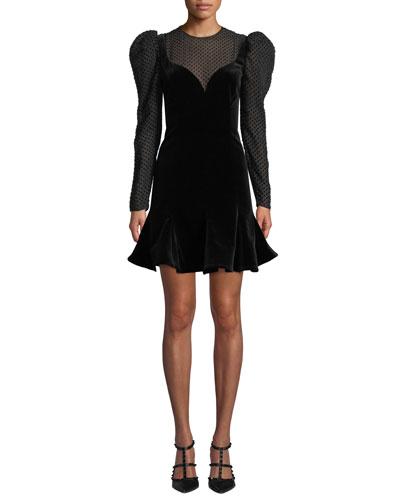 Strong-Shoulder Long-Sleeve Velvet A-Line Mini Dress