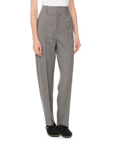 High-Waist Straight-Leg Stretch-Wool Pants