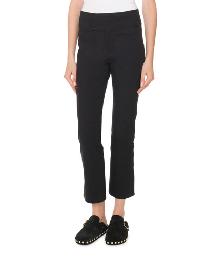 Straight-Leg Cropped Stretch-Cotton Pants