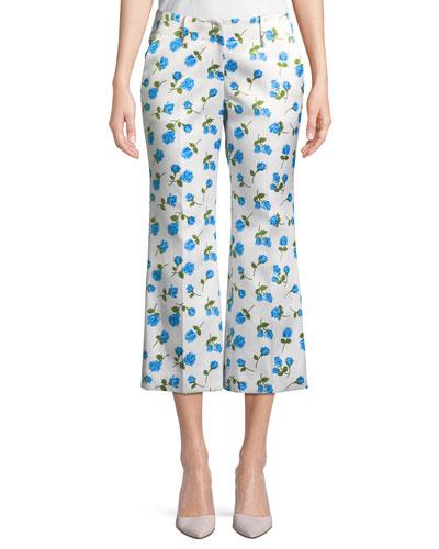 Scattered Rose-Print Flared-Leg Duchess Satin Crop Pants