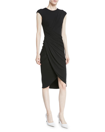 Cap-Sleeve Ruched Stretch Matte Jersey Cocktail Dress