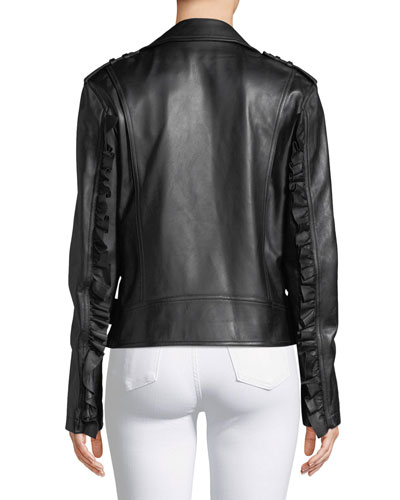 Michael Kors Ruffled-Sleeve Lamb Leather Moto Jacket