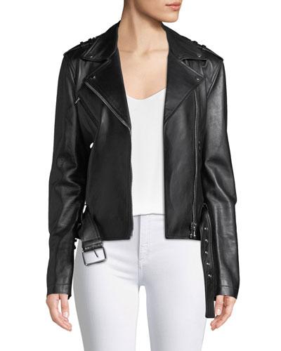 Ruffled-Sleeve Lamb Leather Moto Jacket