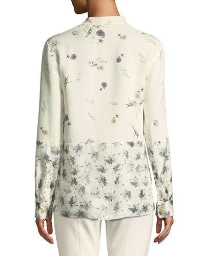 Derek Lam Mixed Floral Tie-Neck Silk Blouse