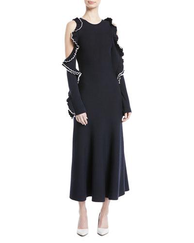 Cold-Shoulder Long-Sleeve Wool Knit Dress w/ Ruffled Trim
