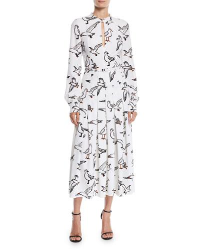 Seagull-Print Long-Sleeve Pleated Long Dress