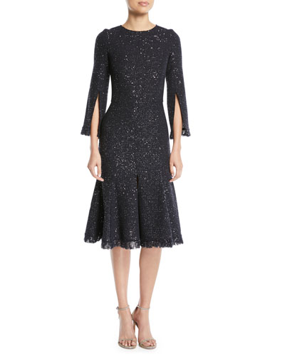 Slit-Sleeve Sequin Cocktail Dress