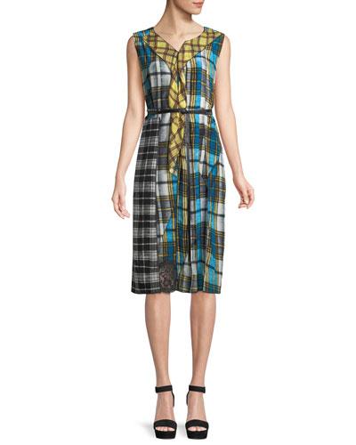 Sleeveless Pleated Front Panel Plaid Silk Dress w/ Studded Leather Belt