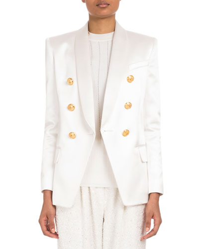 Double-Breasted Satin Jacket