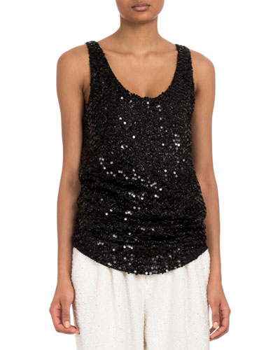 Sleeveless Scoop-Neck Paillettes Sequin Top