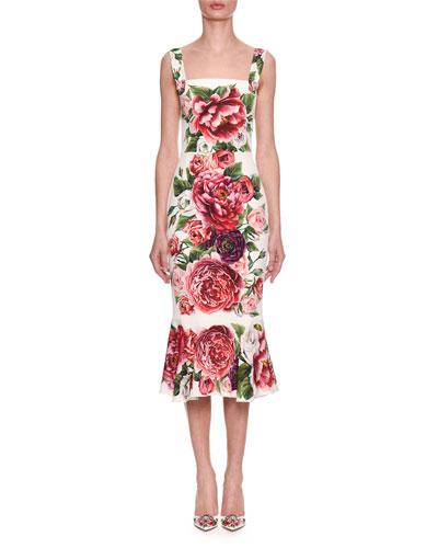 Sleeveless Square-Neck Rose-Print Fitted Midi Dress