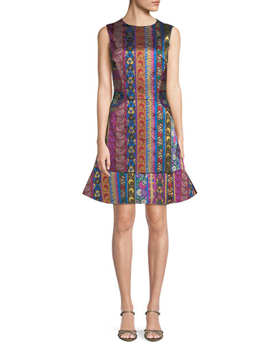 Multi-Ribbon Jacquard Sleeveless Dress with Flounce Hem