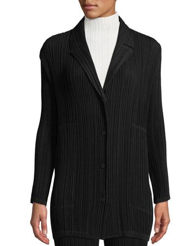 Button-Front Plisse Cardigan Jacket