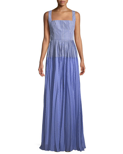 d210461068 Square-Neck Sleeveless Plaid Gown with Pleated Skirt