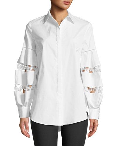 Wave-Trim Button-Down Balloon-Sleeve Cotton Shirt
