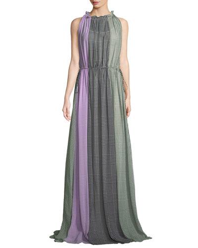 High Halter-Neck Sleeveless Ruched Plaid Silk Gown