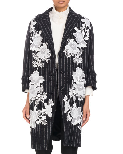Three-Button Metallic-Pinstripe Coat with Floral Lace Applique