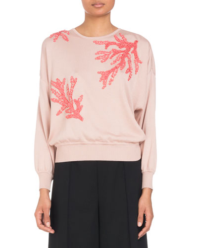 Coral-Sequin Embroidery Crewneck Knit Sweater