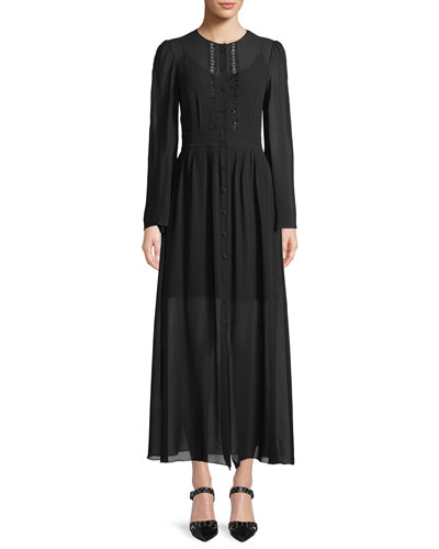 Long-Sleeve Button-Front Long Silk Georgette Dress