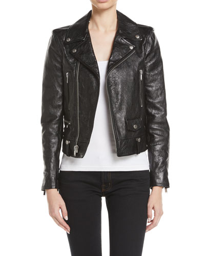 Classic Calf Leather Moto Jacket