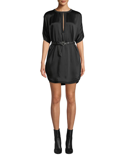 Keyhole-Neck Short-Sleeve Satin Shift Cocktail Dress