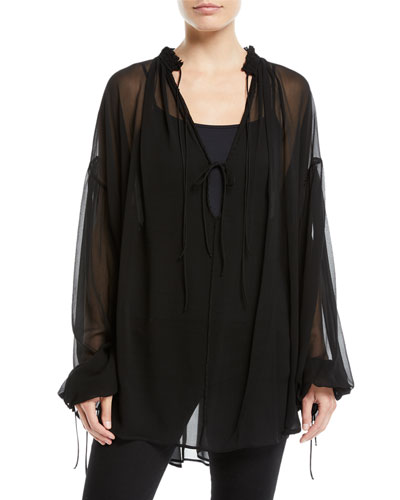 Tie-Front Long-Sleeve Sheer Silk Blouse