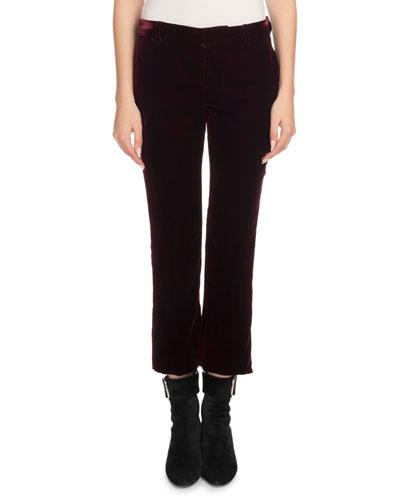 Straight-Leg Cropped Velvet Trousers