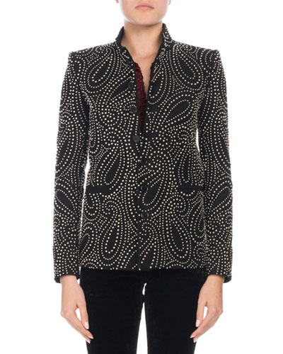 Button-Front Paisley-Stud Single-Breasted Jacket