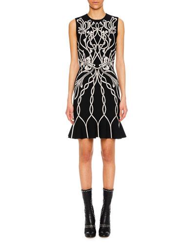 Jewel-Neck Sleeveless Art-Graphic Cocktail Dress w/ Peplum Hem