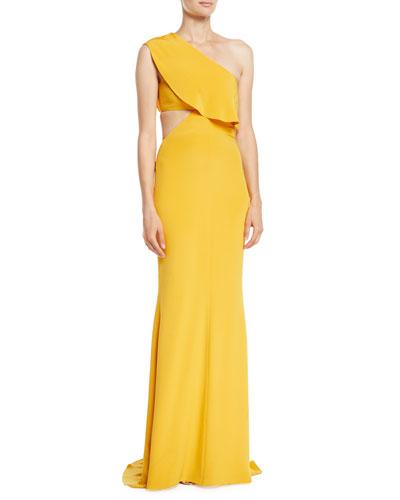 Ruffled One-Shoulder Silk Cutout Gown
