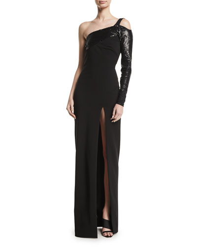 Sequin-Top One-Sleeve High Slit Gown
