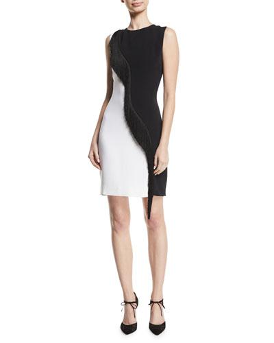 Two-Tone Cady Sleeveless Mini Dress w/ Asymmetric Fringe