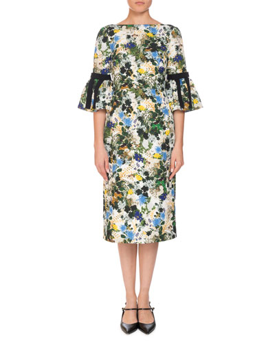 Alexandra Floral Meadow Pencil Dress w/ Grosgrain Ribbon Trim